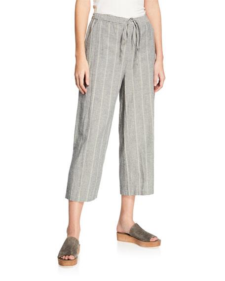 Eileen Fisher Striped Wide-Leg Cropped Drawstring Pants, Plus