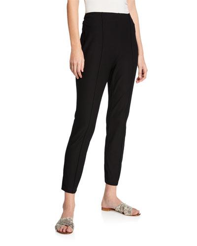 Hi-Waist Slim-Leg Pintuck Stretch Crepe Ankle Pants
