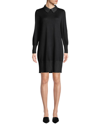 Grommet-Collar Long-Sleeve Sweater Dress