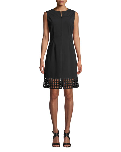 Studded Lattice-Hem Sleeveless Dress