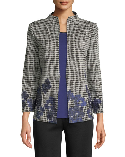 Houndstooth Floral-Embroidered Jacket, Plus Size