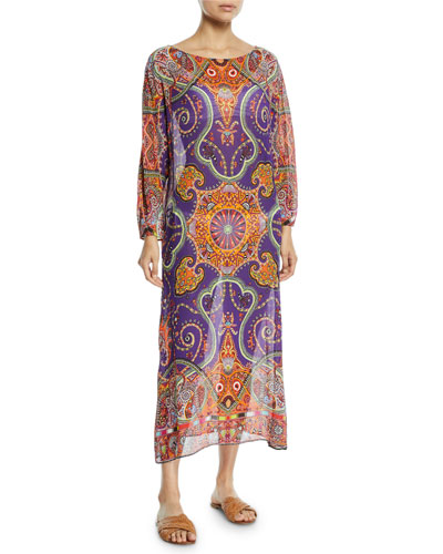 Printed Viscose Long-Sleeve Coverup Long Tunic