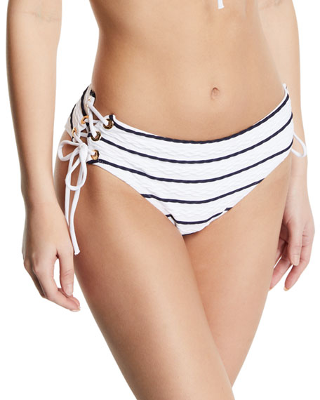 Heidi Klein Striped Lace-Up Hipster Bikini Swim Bottoms