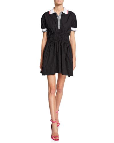 Spread Collar Puff-Sleeve Elastic Mini Dress