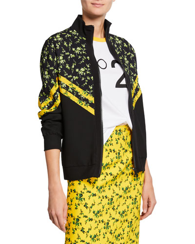 Floral Pattern Chevron Stand Collar Sports Jacket