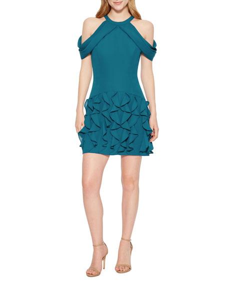 Maverick Cold-Shoulder Ruffle Mini Dress