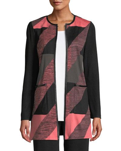 Colorblock Knit Topper Jacket, Plus Size