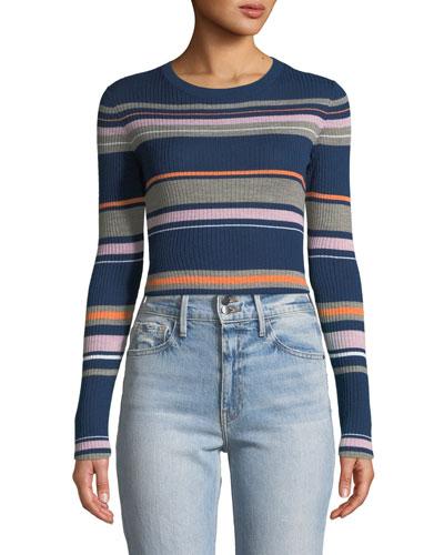 Panel-Stripe Long-Sleeve Ribbed Sweater