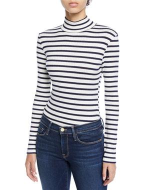 5069d9d88830ad FRAME Striped Long-Sleeve Turtleneck Top