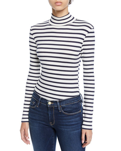 Striped Long-Sleeve Turtleneck Top