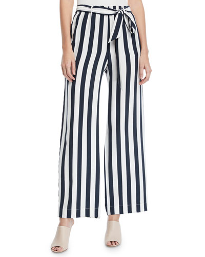 Striped Wide-Leg Easy Pull-On Pants