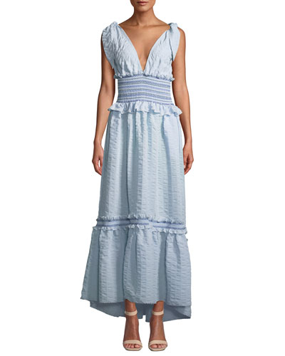Smocked V-Neck Ruffle Maxi Dress