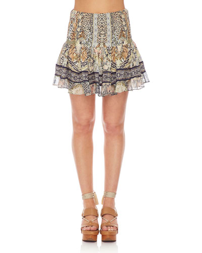 Shirred Floral-Print Smocked Mini Skirt