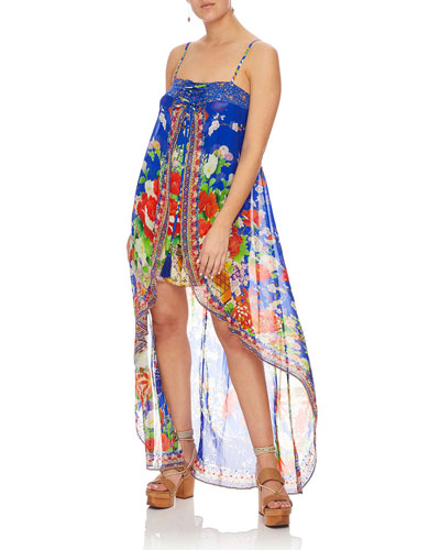 Printed Silk Embellished Romper with Overlay