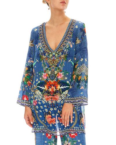 Faraway Florals Silk Printed Long-Sleeve Tunic