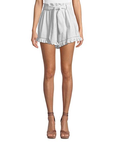 Embroidered Ruffle High-Waist Shorts