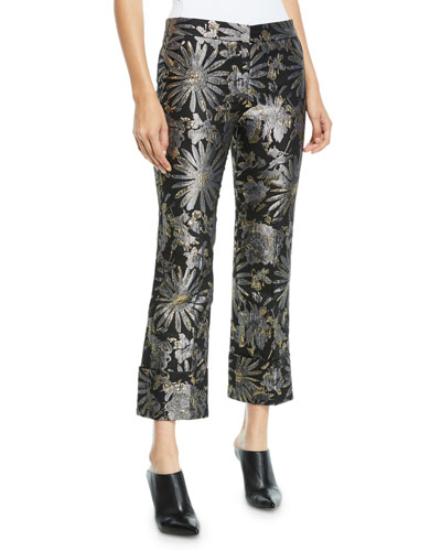 Banshee Pants in Metallic Daisy Jacquard