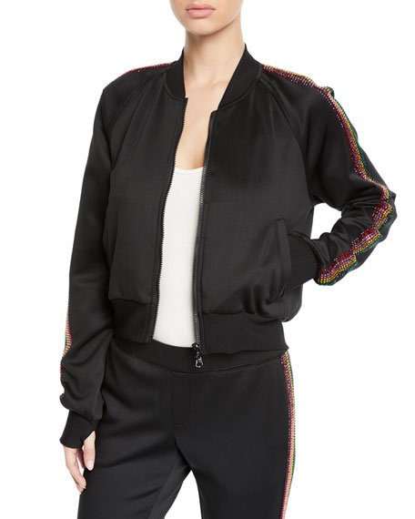 Cropped Track Jacket With Rhinestone Side Stripes in Black