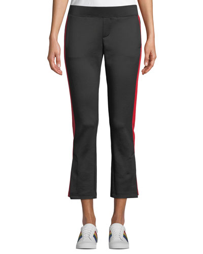 Cropped Flare-Leg Track Pants with Racer Stripes