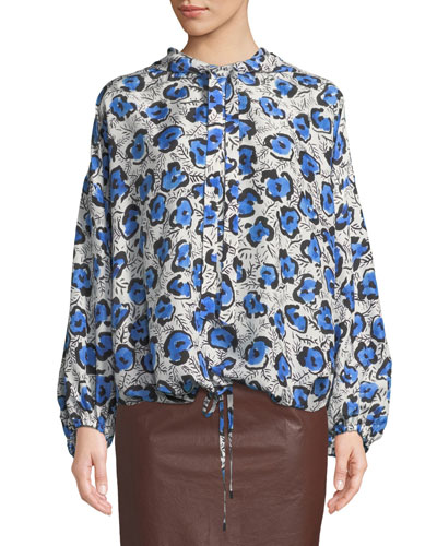 Tomi Hooded Floral-Print Silk Top