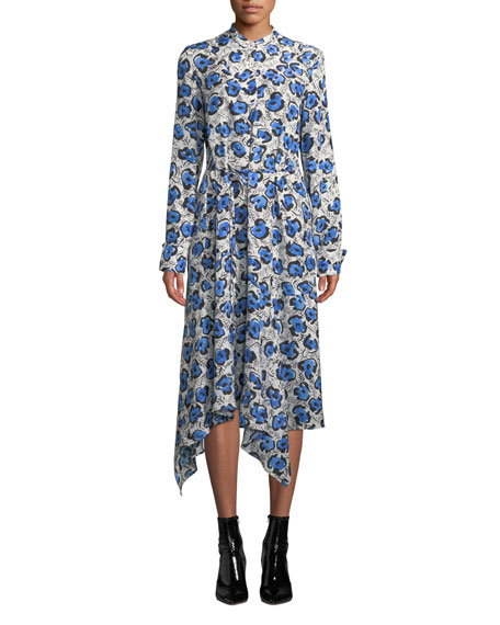 CHRISTIAN WIJNANTS Domi Long-Sleeve Floral Handkerchief Shirtdress in White/Blue