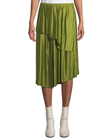 CHRISTIAN WIJNANTS Suzu Draped Asymmetric Plisse Midi Skirt in Green