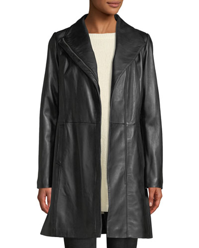Lamb Leather Zip-Front Car Coat