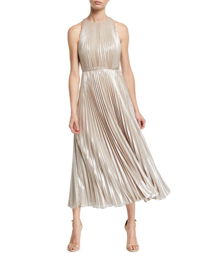 Ashley Metallic Pleated Gown