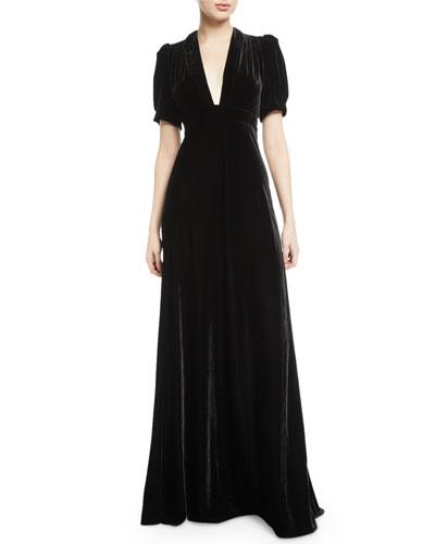 Velvet Puff-Sleeve V-Neck Gown