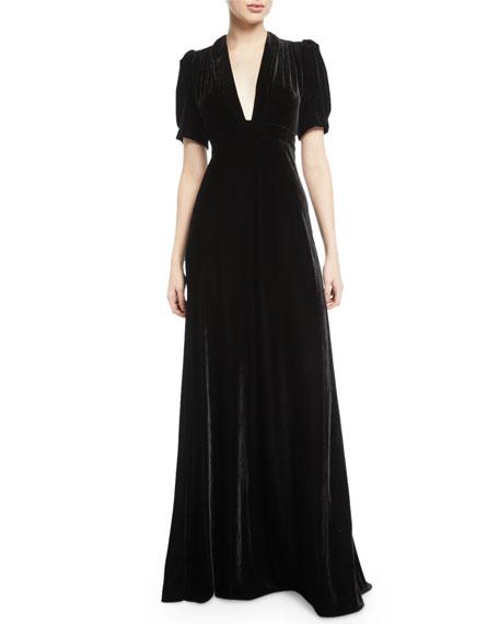 Jill Jill Stuart Velvet Puff-Sleeve V-Neck Gown