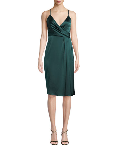 Jill Jill Stuart SATIN DRAPED SLEEVELESS WRAP DRESS