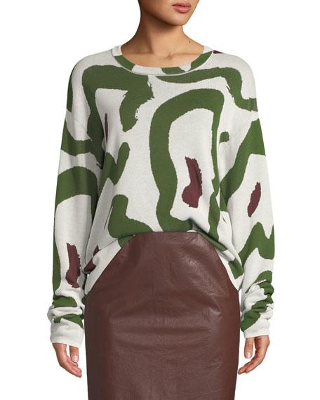CHRISTIAN WIJNANTS Kaori Jacquard Pullover Sweater in White/Green