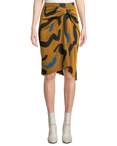 Kazu Draped Leopard-Print Jacquard Sweater Skirt