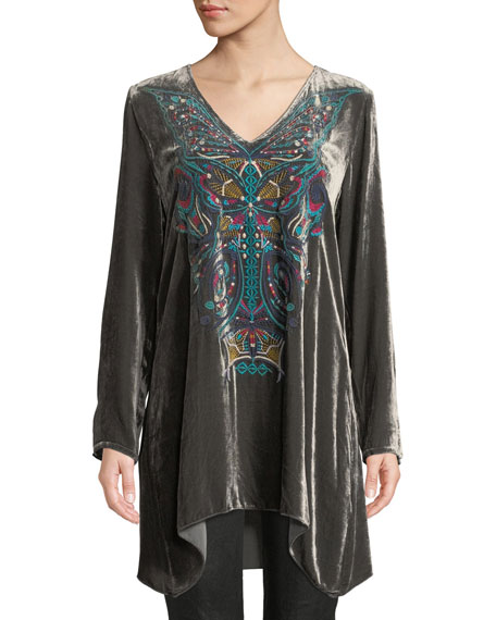 Aurelia Velvet Embroidered Tunic, Plus Size in Steel Grey