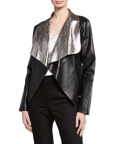 Open-Front Coconut Crackle Leather Jacket