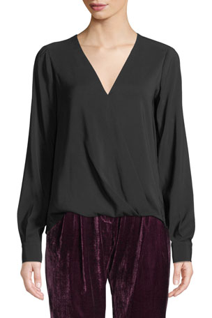 Parker Lola V-Neck Long-Sleeve Wrap Blouse