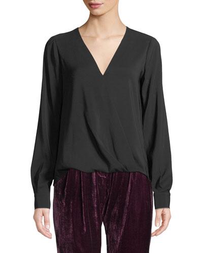 1c23e63e921a1 Lola V-Neck Long-Sleeve Wrap Blouse