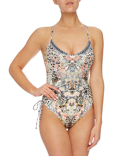 Ruched-Side Printed V-Neck One-Piece Swimsuit