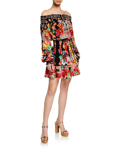 Off-Shoulder Printed Smocked Short Dress