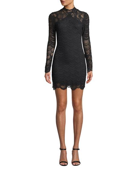 NIGHTCAP CLOTHING Victorian Lace Long-Sleeve Mini Dress in Black