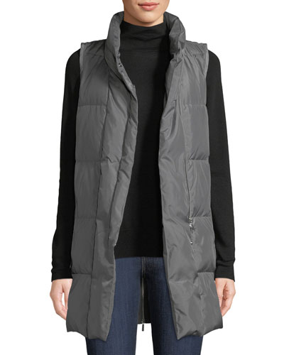 Quilted Puffer Down Vest w/ Back Zip