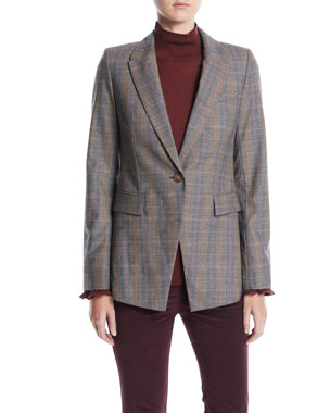Lafayette 148 New York Heather One-Button Eloquent Plaid Jacket c81236a6ef4bb