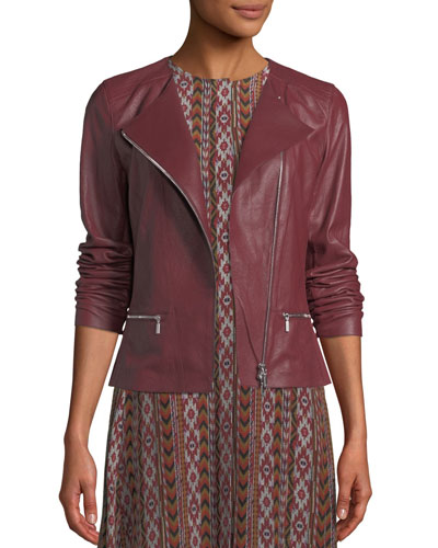Trista Zip-Front Weathered Lambskin Leather Jacket w/ Jersey Combo