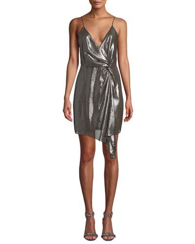 Tori Metallic Twist-Front Cocktail Dress