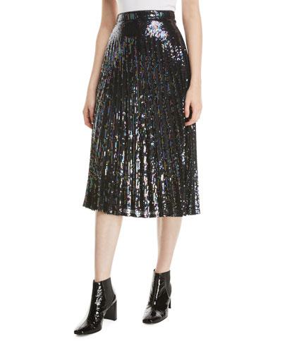 Citrine Sequined High-Waist Midi Skirt