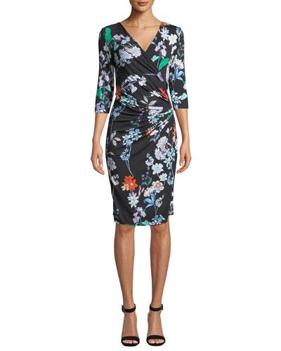 3/4-Sleeve Floral-Print Jersey Wrap Dress