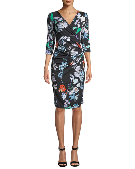 ANATOMIE 3/4-Sleeve Floral-Print Jersey Wrap Dress in Floral Print
