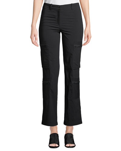 Fiora Boot-Cut Cargo Pants with Zip Pockets