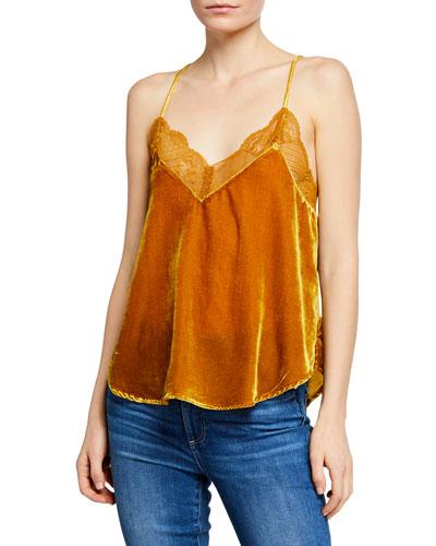 Foxy Velvet Sleeveless Top w/ Lace