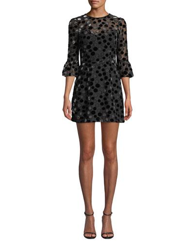 3/4-Sleeve Dot Burnout Mini Dress